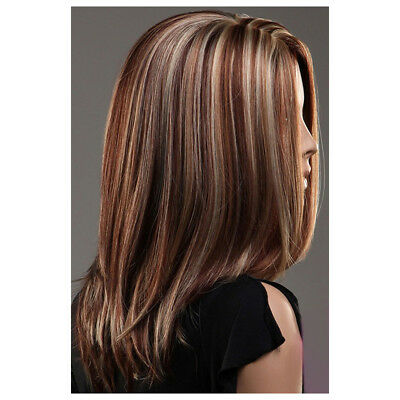 Fashion High Quality Synthetic Medium Mix Blonde Brown Hair Full Wig K5P7