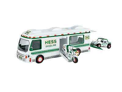 1998 Hess Toy Truck RV with Dune Buggy and Motorcycle. Just opened today! New!