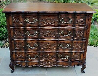 Antique French Country Oak Louis XV Serpentine 4-Drawer Chest Commode LARGE #5