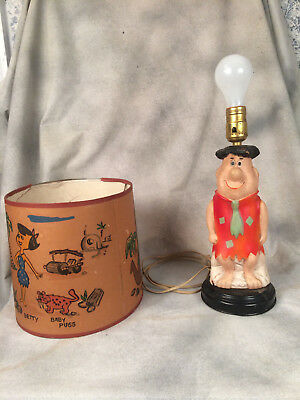 Fred Flintstone Lamp With Shade Blow Mold  C. 1961  HANNA BARBERA  VINTAGE