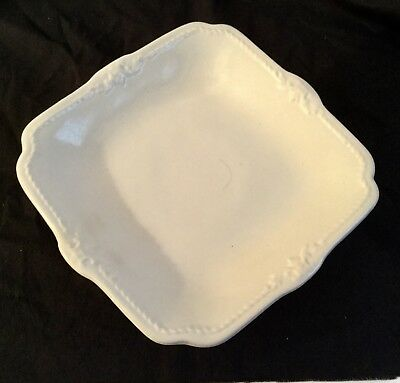 ANTIQUE WHITE IRONSTONE PEDESTAL CAKE STAND Henry Alcock & Co English