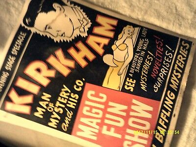 Antique Vintage Original Magic Rare Lobby Poster Props Magician Collectible Art