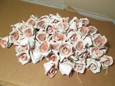 PX7 Lot of 100 Pink Capodimonte Roses Porcelain Lamp Chandelier Flowers