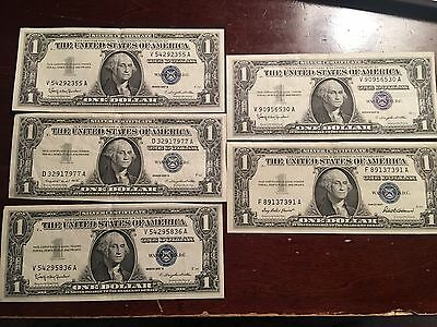 Lot Of 5 1957 Silver Certificate $1 Notes