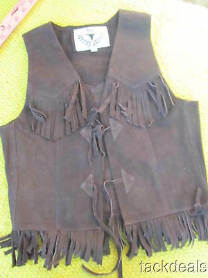 New LEATHER Mexico Made Brown Fringe Western Style Vest Large
