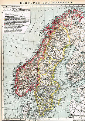 Skandinavien Landkarte 1908 - Schweden - Norwegen - Scandinavia ancient map