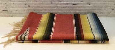 """Vintage Mexican Serape Saltillo Wool Woven Blanket 57"""" X 26"""" Made In Mexico"""