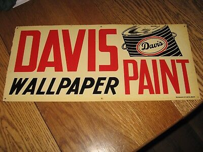 """NEW - OLD metal """"DAVIS PAINT AND WALLPAPER"""" sign"""