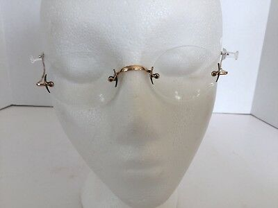 Antique Vintage Gold Tone Wire Rimless Eyeglasses Spectacles