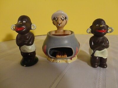 Black Americana Salt and Pepper Shakers With Englishman for Stew Smoker Ashtray