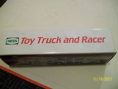 1988Hess Toy Truck and Racer. Working lamps on truck/friction motor on Racer