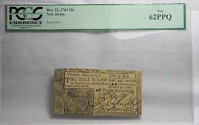 Dec. 31, 1763***new Jersey 12 Shillings***pcgs Graded To New 62 Ppq***ahe