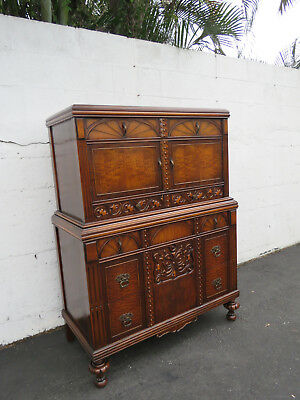 Early 1900s Heavy Carved Burl Wood Tall Chest of Drawers 8657