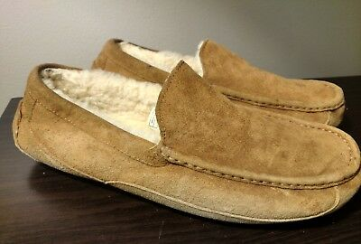 Ugg Ascot Mens Chestnut Suede Leather Sheep Skin Slippers~ 11 M