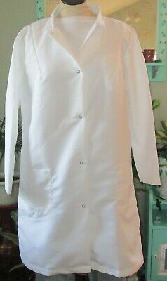 "Best Medical Woman L/S Lab Coat Snaps 3 Pocket 38"" Length White Size Large"