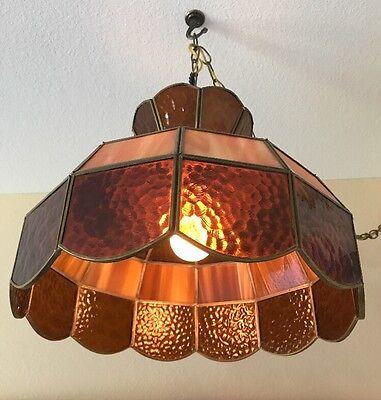 Vintage Stained Glass Amber & Cream Hanging Lamp Shade Light