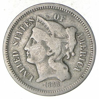 1868 - ***3***THREE***Cent Piece*** - US Type Coin *420