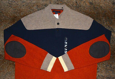 Tommy Hilfiger New Wool Sweater Men's Size 2Xl Brand New 40% Lambswool Henley