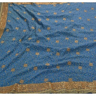 Sanskriti Vintage Hand Beaded Heavy Saree 100% Pure Crepe Silk Blue Fabric Sari