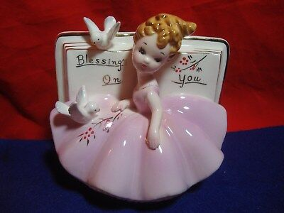 Vintage Josef Originals Girl Book Planter With Dove's Blessings On You