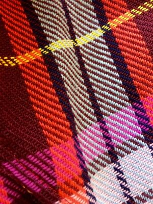 Vintage AMAZING Funky Colorful Plaid 1970's Handmade? Robe with Tie.  SWEET FIND