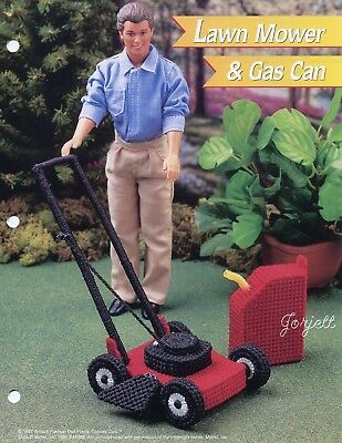 Lawn Mower & Gas Can ~ fits Barbie dolls, Annie's plastic canvas pattern leaflet