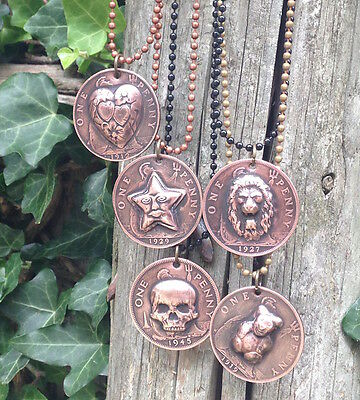 British One Penny Repousse Coin Necklace -- Choice -- pop punched out coin