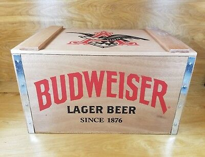"""NEW!! Budweiser Lager Beer Wooden Beer Crate 17""""x11""""x10"""""""