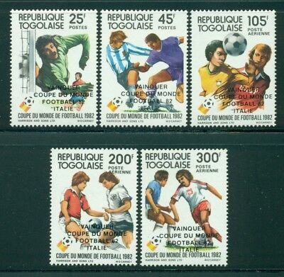 Togo Scott #1150-1154 MNH World Cup 1982 Spain Soccer OVPT Italy Winner CV$4+