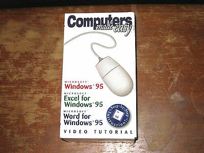 Computers Made Easy - Windows 95 Word Excel VHS Tape Set Vintage PC DOS Office