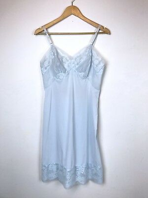 Vintage 60s Pale Blue Lace Overlay Slip Sheer Mid Century Pin Up Mod Baby 50s