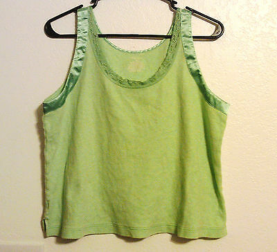 Sleep Sense M Green with Lace and Trim Soft Cotton Cami Tank Top