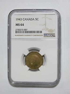 Canada 1943 5 Cents Ngc Ms64 Rainbow George Vi Toned World Coin Collection Lot