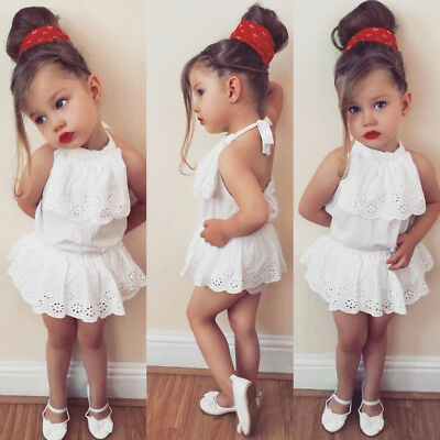 Mon Newborn Baby Girl Lace Top Shorts Skirt Pants Clothes Outfit Set Summer US