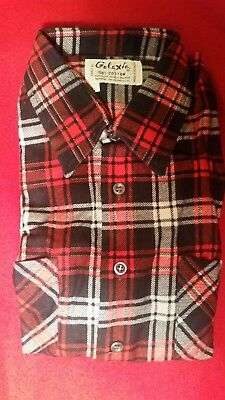 Vtg NOS GALAXIE Men's Shirt Large Flannel 1960's Western Red Black White In Pkg