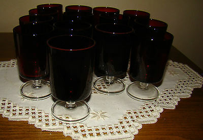 Vintage France Arcoroc, Rare Ruby Red Glass, Wine Goblets, Set of 14 - 4 oz