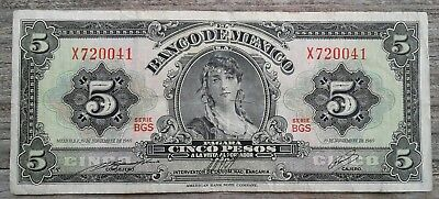 Mexico Cinco (5) Pesos Banknote 19 Nov 1969 Ser. X720041
