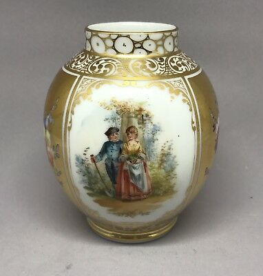 Beautiful Miniature Signed Dresden Porcelain Ptd. Romantic Floral Flowers Vase