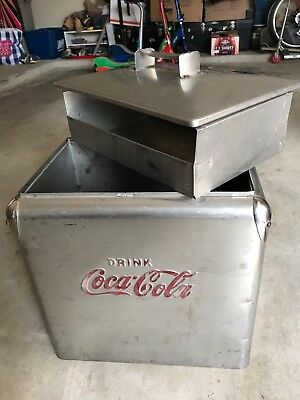 1950's Coca-Cola TempRite Stainless Steel Cooler with insert and bottle opener