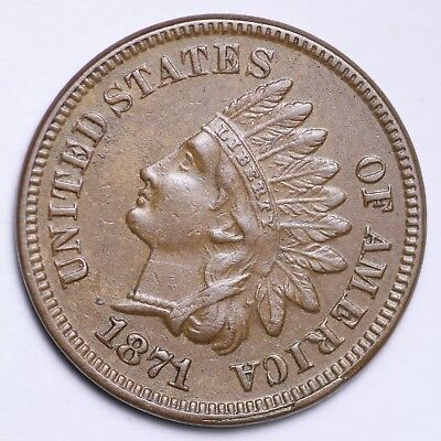 1871 Indian Head Small Cent CHOICE AU+/UNC FREE SHIPPING E142 GNMC