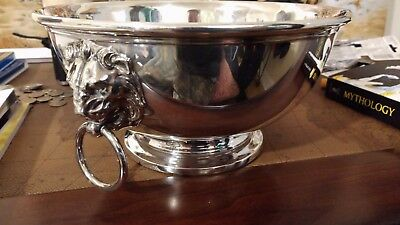Antique Sterling silver Crescent of port jervis NY centerpiece bowl lion handle