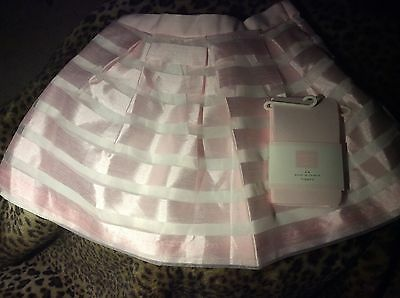 Janie & Jack Spring Splendor Striped Organza Pink Skirt, tights,  5 NWT Easter
