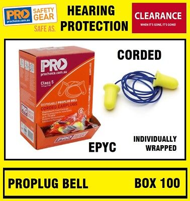 ProChoice EPYC Pro ProBell Disposable Corded Earplugs 100 Pairs Ear Plugs Plug