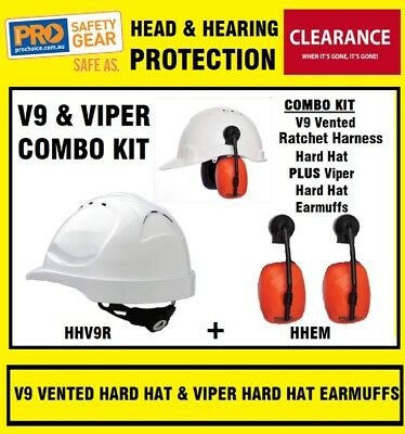 ProChoice HHEM Viper Hard Hat Earmuffs + HHV9R V9 Vented Hard Hat White Ratchet
