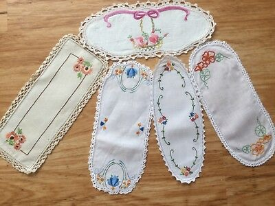 5 Sandwich Tray  hand embroidered doilies