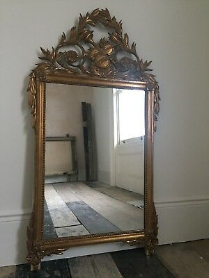 Antique French Gilt Louis XV Crested Mirror - Excellent Condition