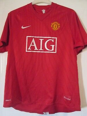 Manchester United 2007-2009 Home Football Shirt Size Adult Large /43170