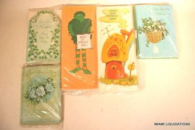 Lot of 60 Saint Patrick's Day Vintage Greeting Cards w/envelopes Mixed wholesale