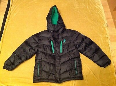 Boys US Polo Winter Puffer Hoody Coat Jacket Size Youth Large 14-16 Black/Grn