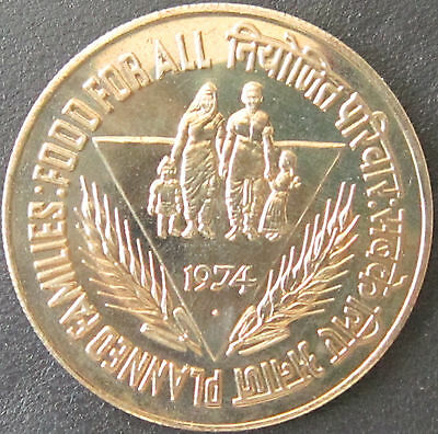 INDIA 10 Rupees 1974  FAO  'Family Planning'  Proof   KM# 189
